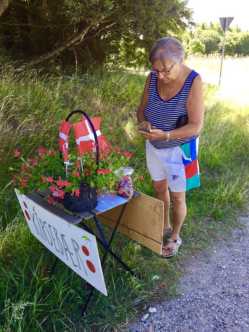 Travelling around in Denmark at summer time is amazing; the farmers put their products for sale by the road, but no persons can be seen. You just pay by putting the money in a box, or send it over mobile phone. That is trust on a deep level!