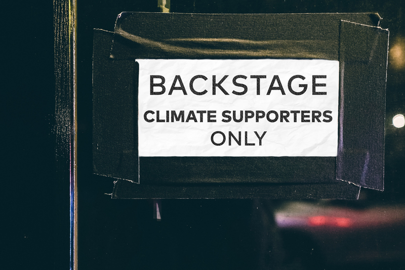 Stage door for climate supporters