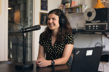 Afton Halloran in the studio