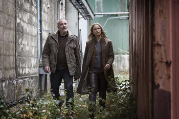 "Swedish actress Sofia Helin and Danish actor Kim Bodnia during the filming of the tv-series ""The Bridge""."